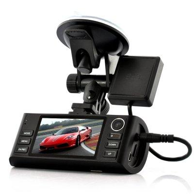 HD Bilkamera med dubbla kameror,  night vision och gps loggning