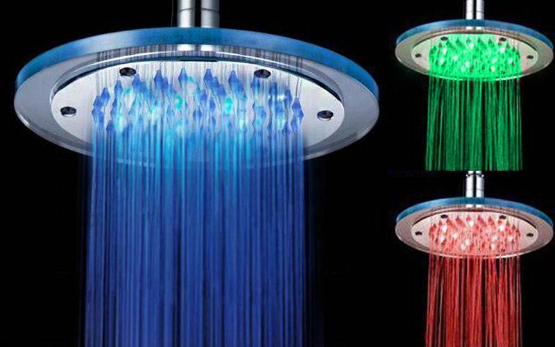 12 LED Duschmunstycke, RGB, temperaturstyrd