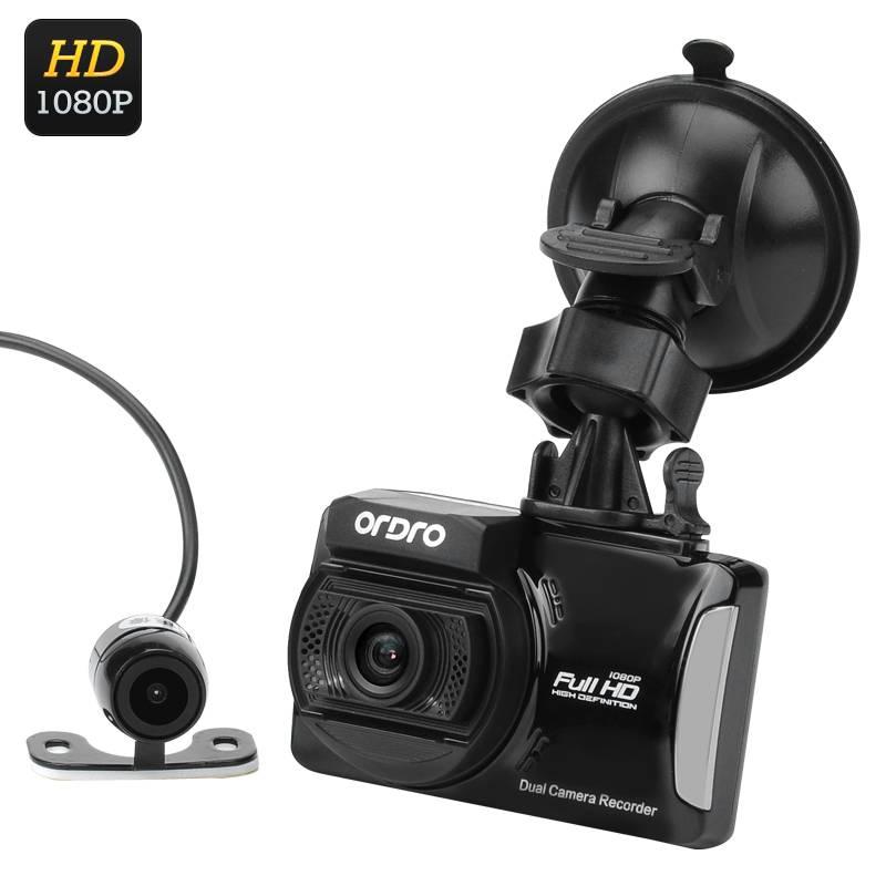 Full HD dashkamera med 2 kameror, 130 grader vidvinkel, Loop recording, Rörelsedetektion, Stötsensor