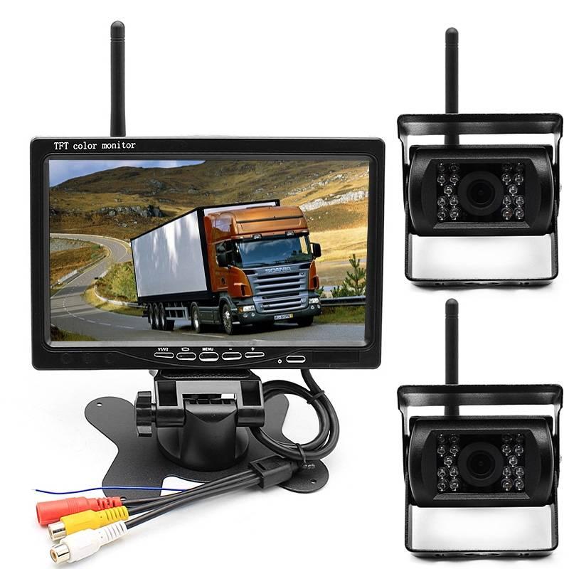 "Trådlöst backkamera-kit med dubbla kameror BK20PRO, 7"" display, IR-LED, 120°, fjärrkontroll"