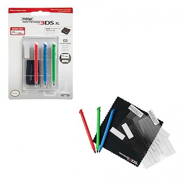 Nintendo 3DS XL Write and Protect, skärmskydd, stylusar, putsduk