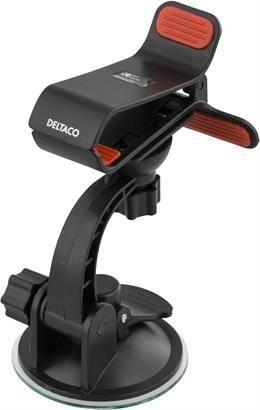 DELTACO Hållare för smartphone i bilen, klämfäste med sugpropp, svart Et