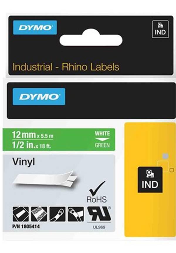 DYMO Rhino Professional. vinyltejp, 12mm, vit text på grön tejp, 5,5