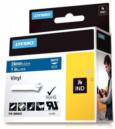 DYMO Rhino Professional, 24mm, märkbar vinyltejp, vit text blå tejp thumbnail