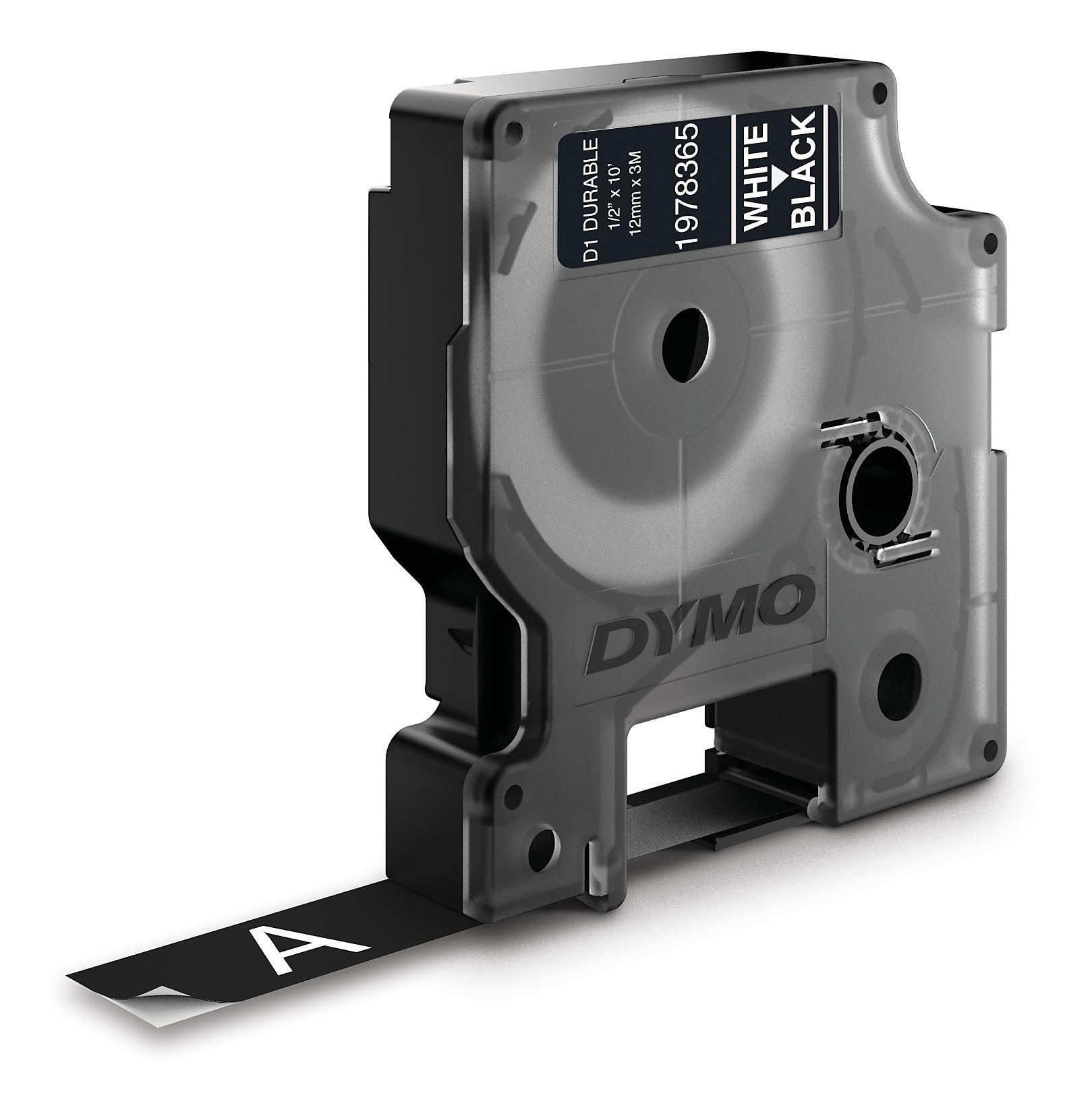 Dymo Durable D1 tape, 12mm, 3m, vit text på svart tejp thumbnail