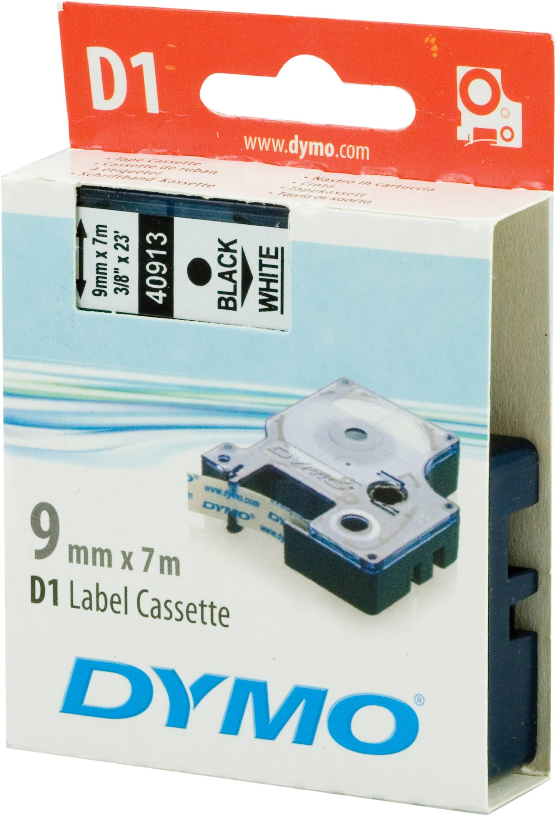DYMO D1 märktejp standard 9mm, svart på vitt, 7m rulle thumbnail