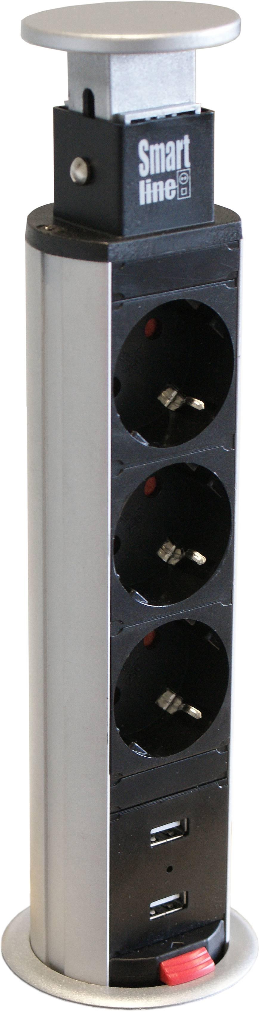 SmartLine PopUp, 3xCEE 7/4 2xUSB Typ A ho, silver