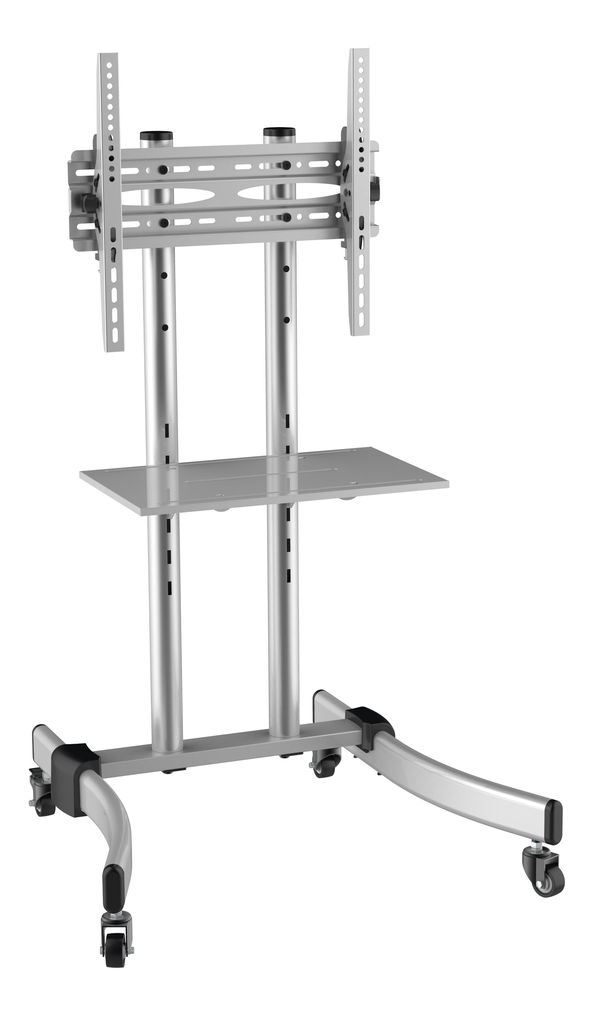 """TV-bänk med hjul, 37""""-55"""", VESA 400x400, tiltbar, silver"""