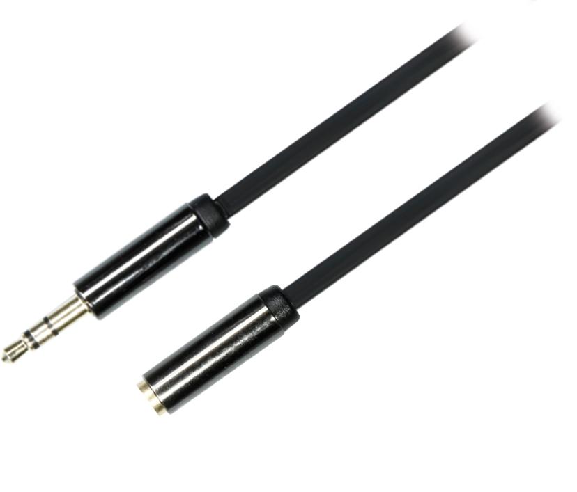 DELTACO ljudkabel, 3,5mm hane till 3,5mm hona, 0,5m, svart