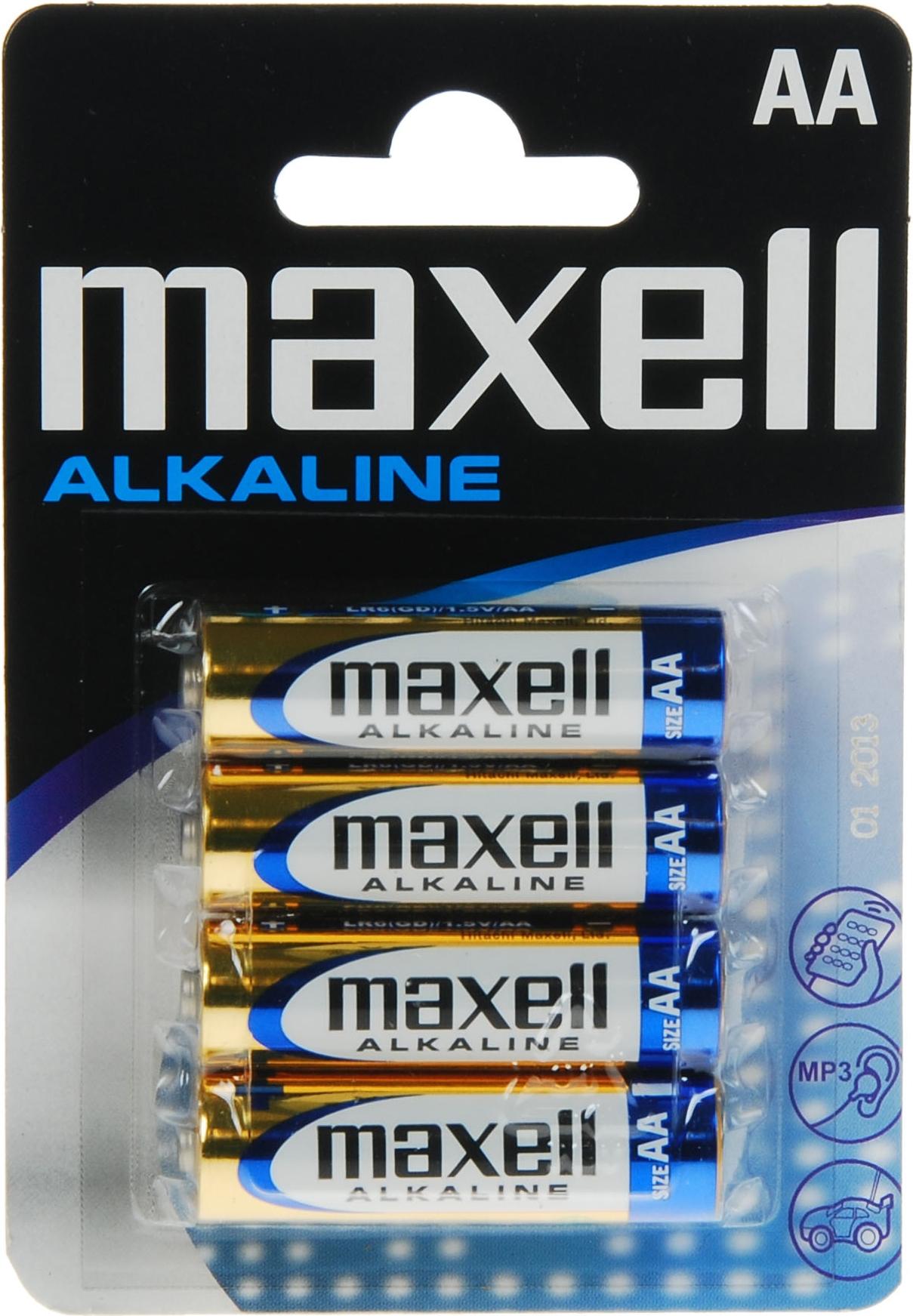 Maxell batterier, AA (LR06), Alkaline, 1,5V, 4-pack thumbnail