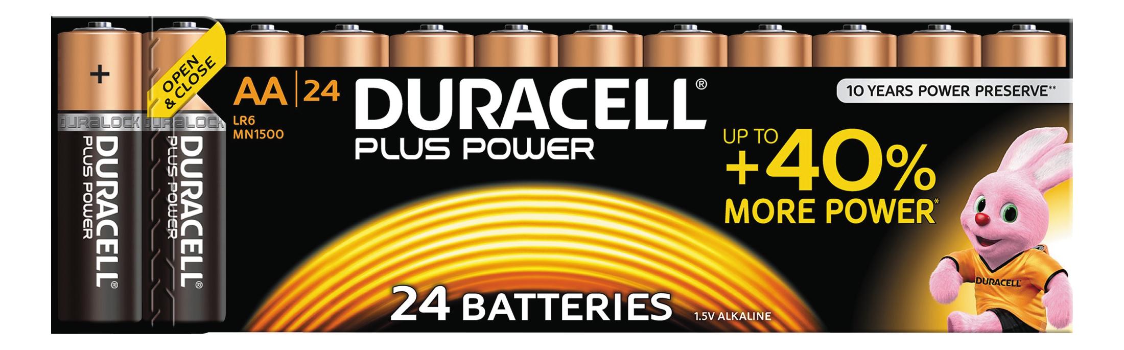 Duracell Plus Power alkaliskt batteri, AA (LR06), 1,5V, 24-pack thumbnail