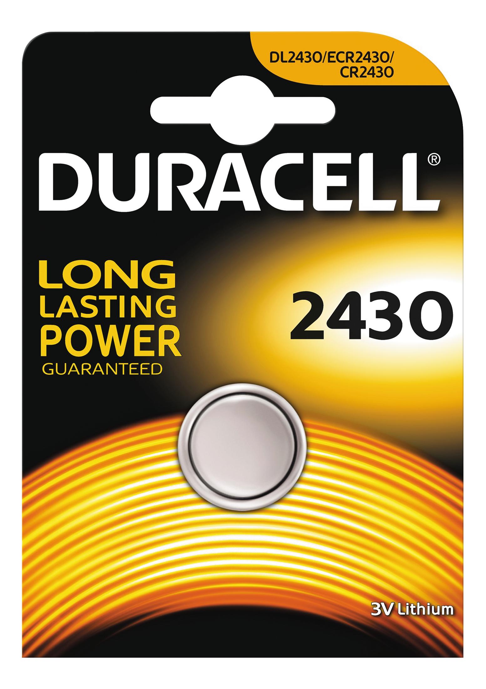 Duracell knappcellsbatteri, CR 2430, Lithium, 3V, 1-pack thumbnail