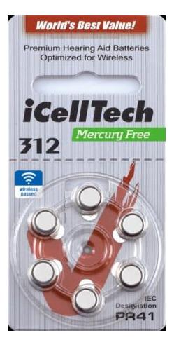 iCellTech 312 PR41 Zinc-Luft knappcellsbatteri, 1,45V, 6-Pack thumbnail