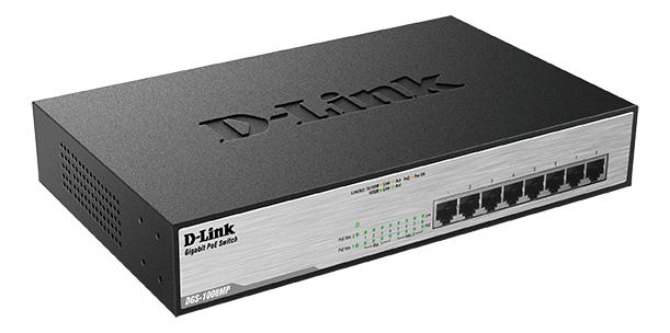 D-Link PoE nätverksswitch, 8-ports, 10/100/1000Mbps, metalhölje, grå