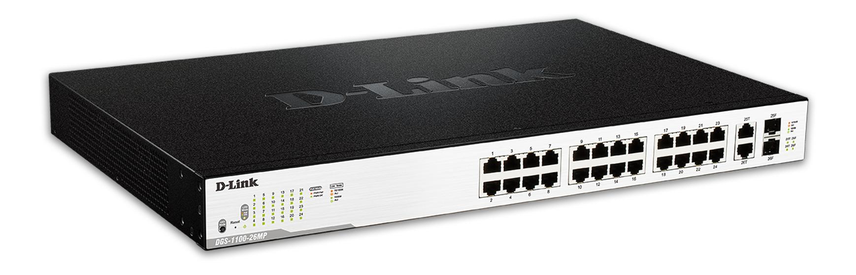 D-Link nätverksswitch, 24xRJ45, 2xSFP, PoE plus, Gigabit, svart/silver
