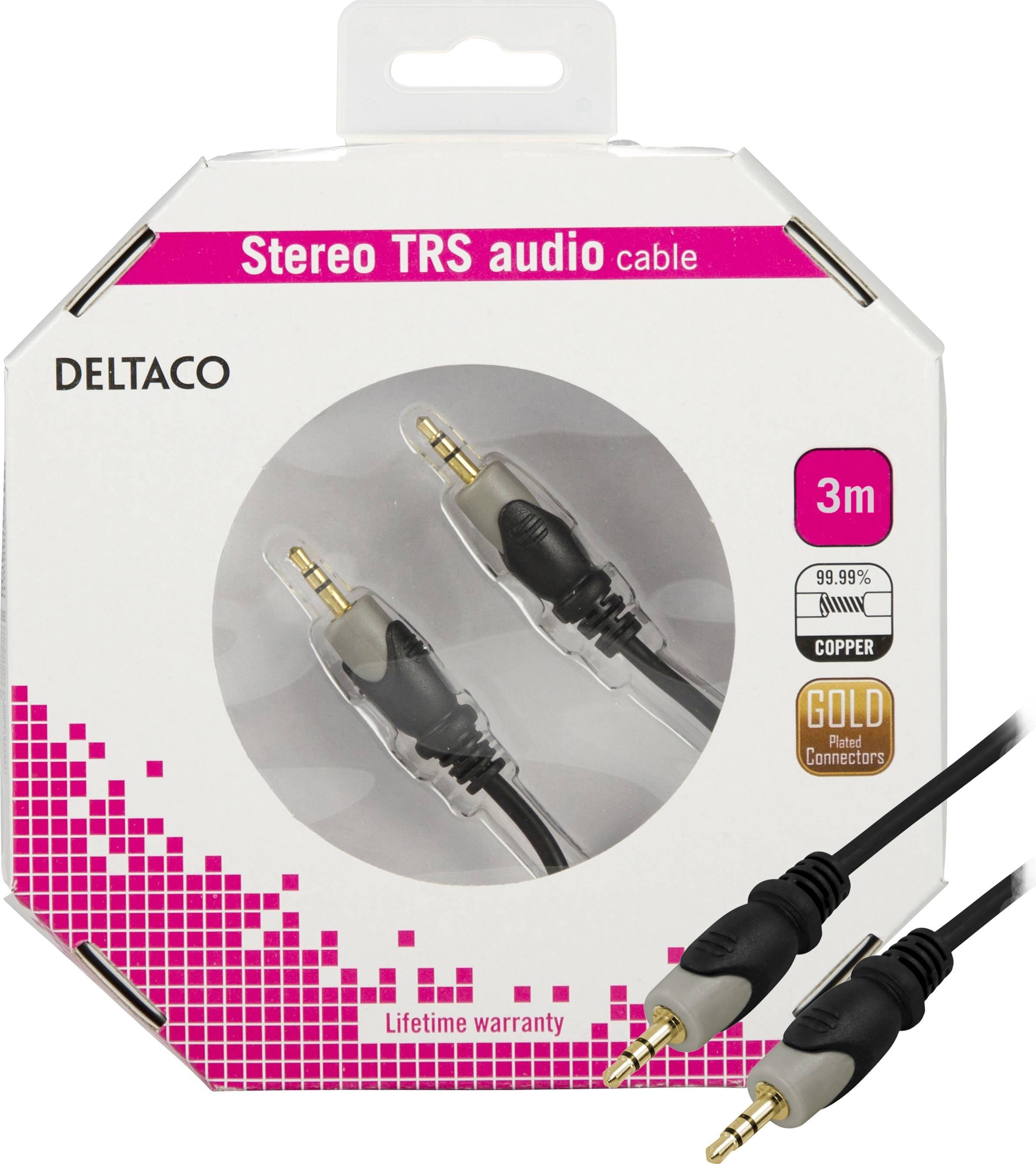 DELTACO ljudkabel 3,5mm ha - ha, guldpläterad, 3m