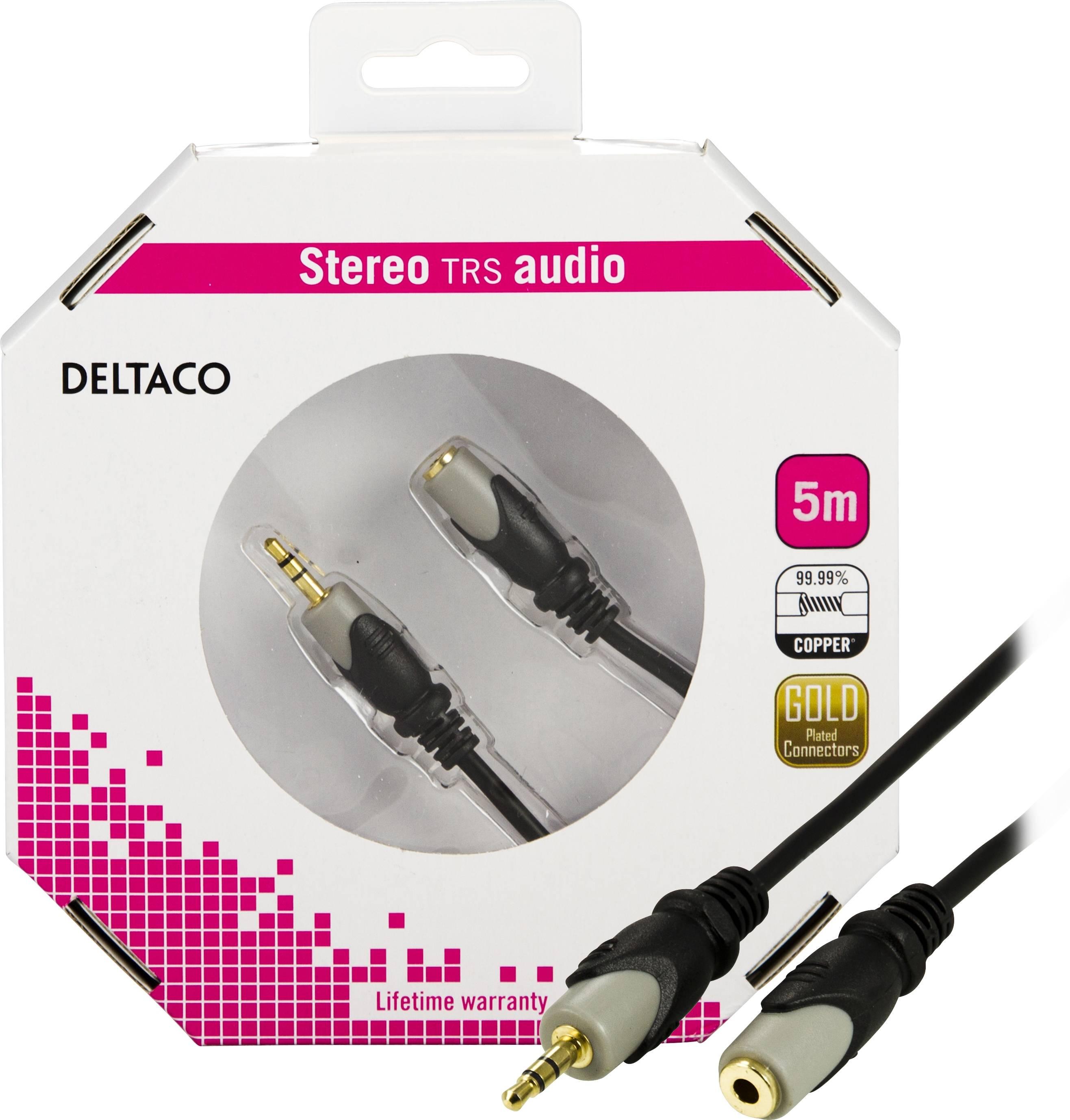 DELTACO, ljudkabel 3,5mm ha - ho, guldplätterad, 5m