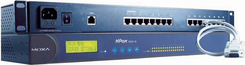 "Moxa NPort 5610 serieportsserver, 16 portar, RS-232, 19"", 1U"