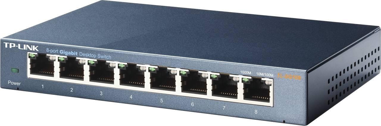 TP-LINK, nätverksswitch, 8-ports 10/100/1000Mbps, RJ45, metall