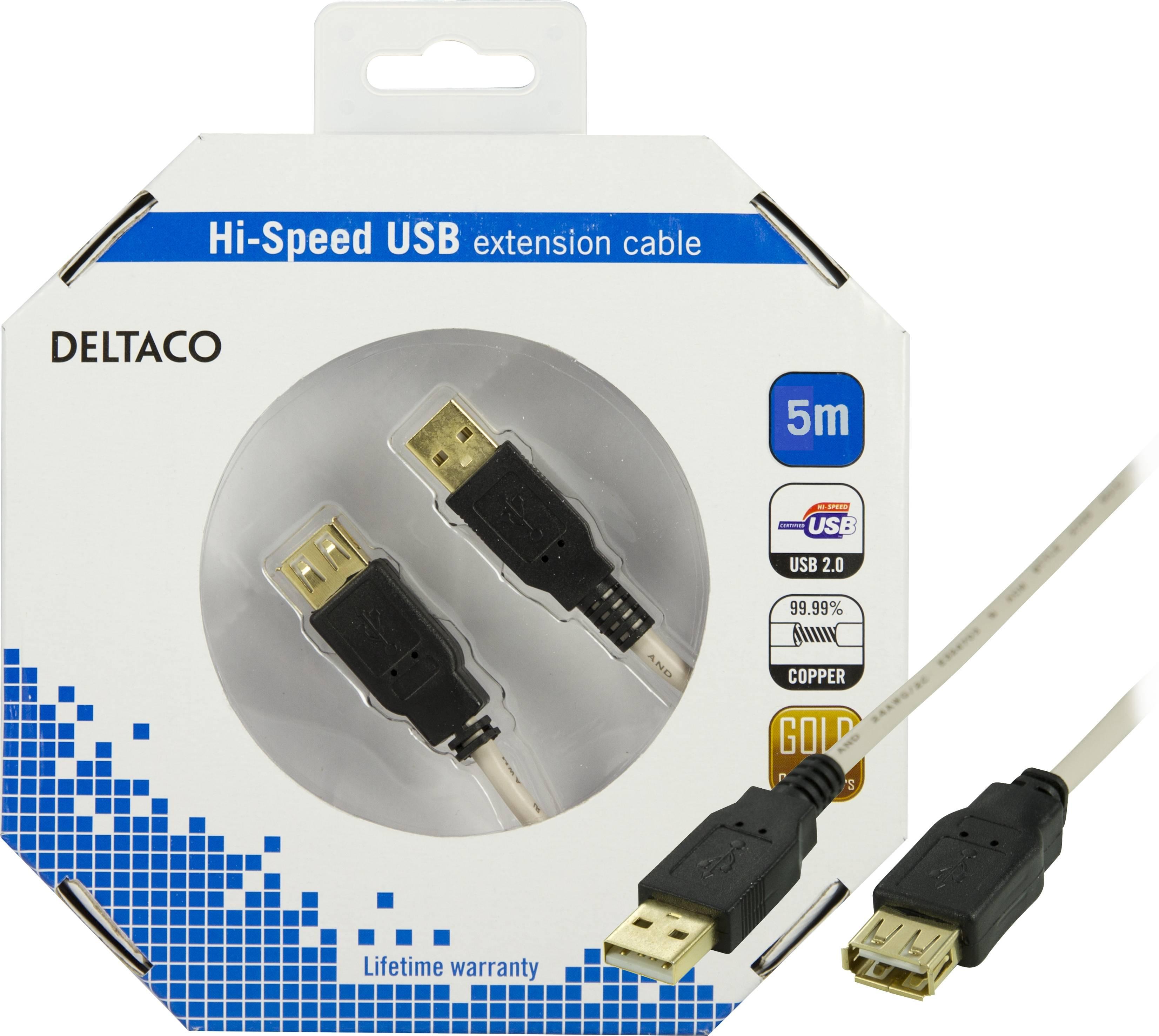 DELTACO, USB 2.0 kabel Typ A hane - Typ A hona 5m thumbnail