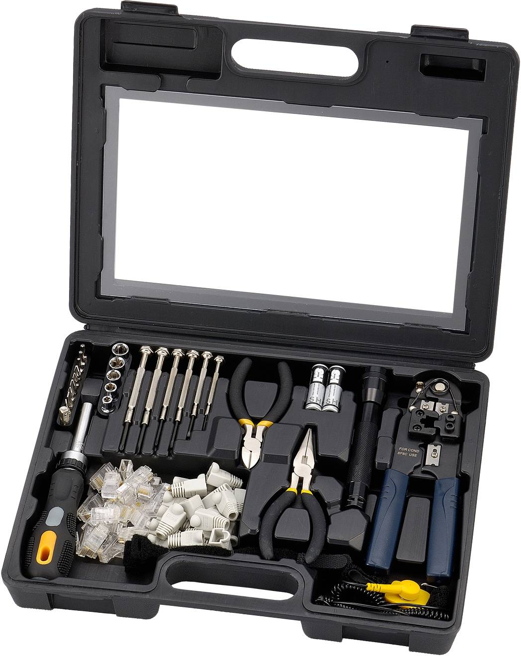 Sprotek STK-985, verktygskit för datorer och nätverkskablar, svart