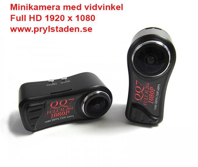 Minivideokamera med vidvinkel och full HD