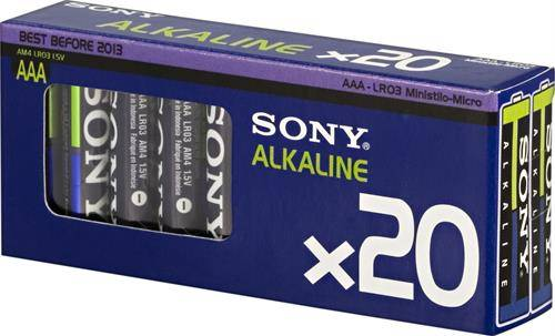 SONY Alkaline Ecopack, LR03 / AAA batterier, alkaliska, 1,5V, 20-pack thumbnail