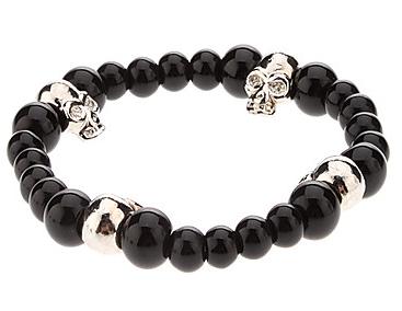 Black Skull, armband med svarta pärlor och döskalle thumbnail