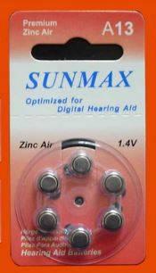 Knappcellsbatterier för hörselapparater, A13/D6, Zinc-Luft, 1,45V, 6-pack thumbnail