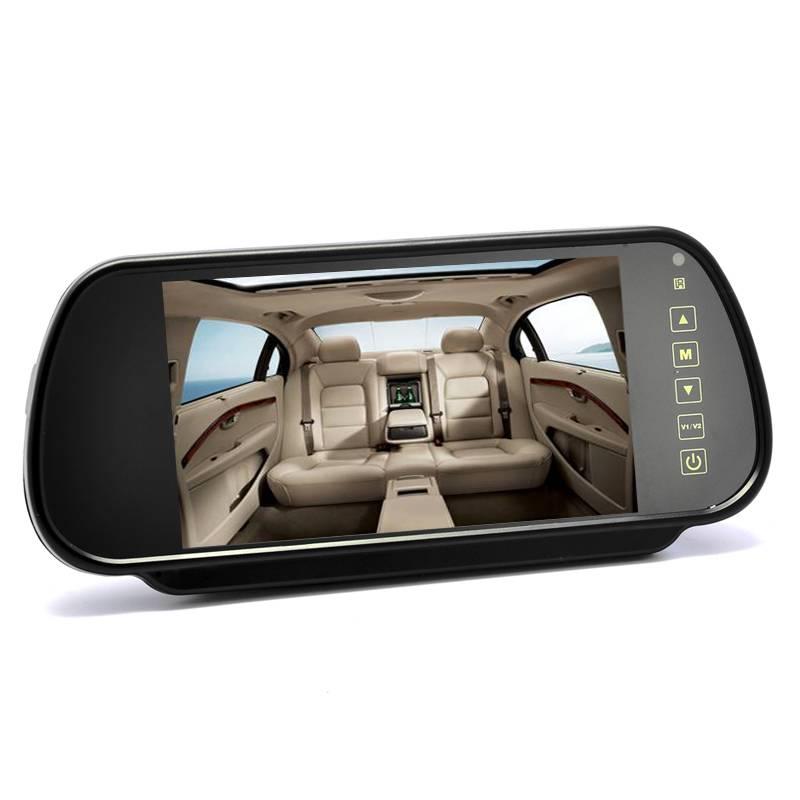 7-tums backspegel-display med 2x videoingångar, touchknappar, fjärrkontroll