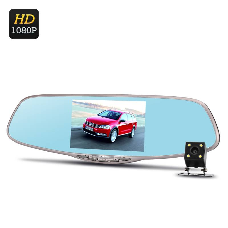 """Backspegelkamera med 5"""" IPS-spegeldisplay, FullHD, Dubbla kameror, G-sensor, 170 grader vidvinkel, IR-backkamera"""