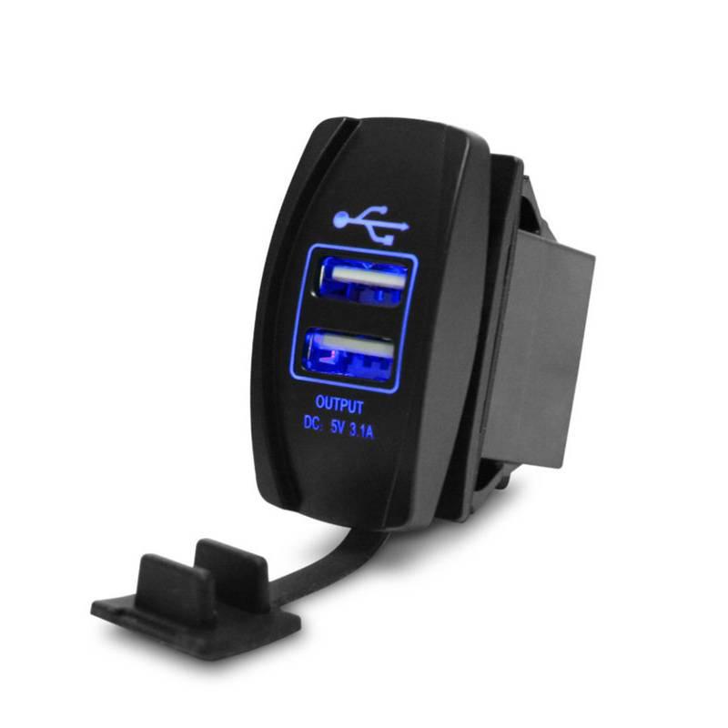 Vattentät infällbar dubbel USB laddare för båtar och fordon, 3.1A, 12 24V, inkl. 1.5 m isolerad kabel, LED belysning