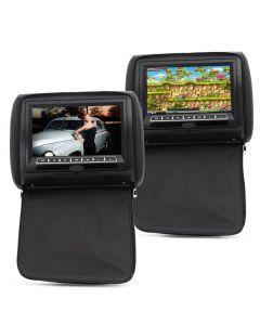 2x Nackstödsskärmar med DVD-spelare för bilbruk, Spelar Divx, Xvid m.m. från USB, Fjärrkontroll, Högtalare