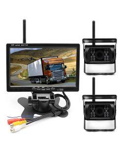 Trådlöst backkamera-kit med dubbla kameror, 7
