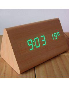 Alarmklocka i trä, LED-display, ljudstyr