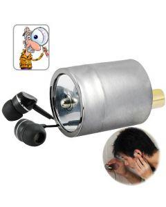 Avlyssningsbugg med hörlurar - tjuvlyssna /smyglyssna genom vägg