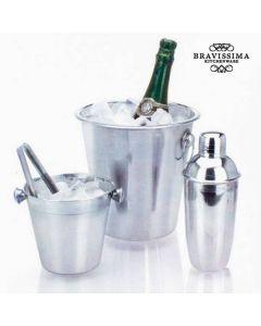 Set med ishinkar och cocktailshaker i rostfritt stål (4 delar)