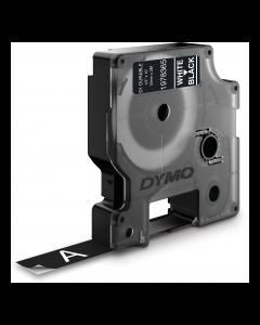 Dymo Durable D1 tape, 12mm, 3m,  vit text på svart tejp