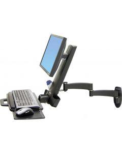 Ergotron monitorarm, 200-serien, svart, max 8,2 kg, mus/tb-hylla