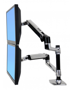 Ergotron LX ReDesign Dual Arm Pole Mount 2 flat panels or fp+ notebook