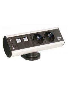 Smartline Desk, CEE 7/4, RJ45 ho,USB Typ A ho, Aluminium/Svart