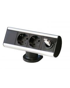 Smartline Desk , 2xCEE 7/4, kabelgenomföringshål, Aluminium/Svart