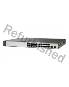 Cisco Catalyst 3750 v2 24-Port 10/100Mbps Switch, PoE,refurbished, grå
