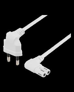 DELTACO ojordad apparatkabel, 1m, CEE 7/16 - IEC 60320 C7, vit