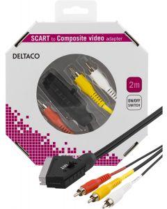 DELTACO SCART till Kompositvideo, 3xRCA, ha - ha, 2m, svart