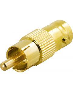DELTACO adapter, RCA hane till BNC hona, guldpläterad