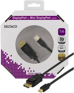 DELTACO DisplayPort till Mini DisplayPort kabel, 20-p ha-ha, 1m, svart