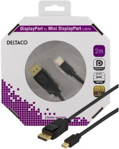 DELTACO DisplayPort till Mini DisplayPort kabel, 20-p ha - ha, 2m, sva
