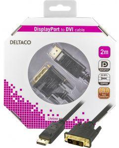 DELTACO DisplayPort till DVI monitorkabel, 20-pin ha - ha 2 m
