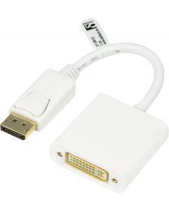 DELTACO DisplayPort till DVI-D singlelink adapter, 0,17m, ha - ho, vit